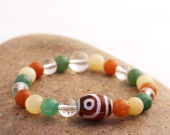 Mixed Semi Precious Wrist Mala with Tibetan Agate - Red and Green Aventurine Mala Bracelet