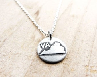 Tiny Virginia necklace, silver state jewelry silver map pendant