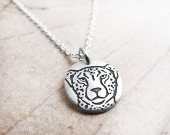 Tiny Cheetah necklace, silver Cheetah jewelry, eco friendly, African animal jewelry