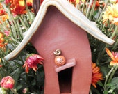 Fall Halloween Fairy Pixie Gnome Bug Garden or Planter House with Pumpkin and Spider