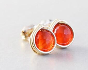 Carnelian Studs, Orange Post Earrings, Orange Studs, Rose Gold, Sterling Silver