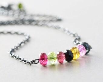 Tourmaline Necklace, Multicolor Gemstone Necklace, Oxidized Necklace, October Birthstone