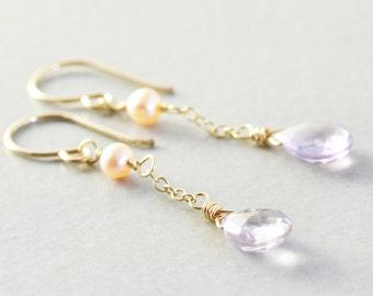 Amethyst Dangle Earrings, Lavender Earrings, February Birthstone