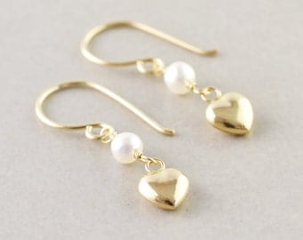 Heart Earrings, Petite Gold Earrings, Drop Earrings, Pearl Earrings