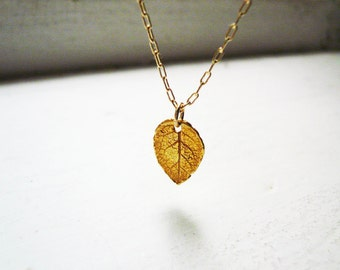 Tiny Rustic Gold Leaf Necklace in Gold Filled and Vermeil - Dainty Textured Gold Leaf Necklace
