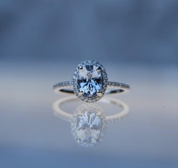1 57ct Light gray blue color change oval sapphire diamond ring