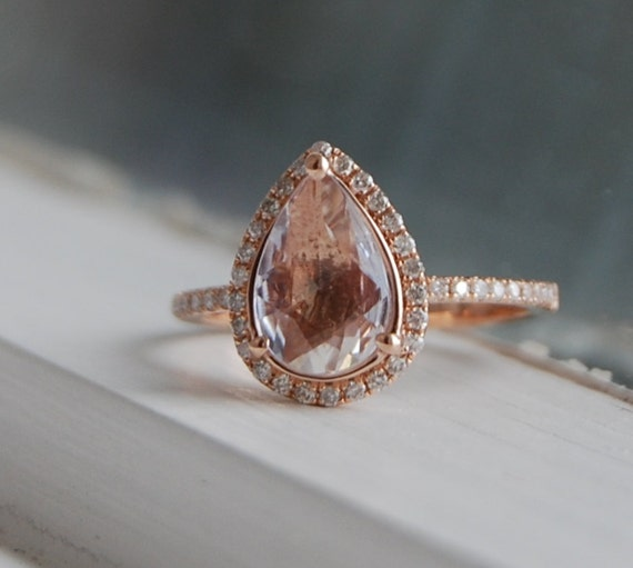 1 26ct Pear shape Ice Peach sapphire 14k rose gold diamond