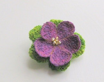 Tactile textile art brooch dark purple flower lime green