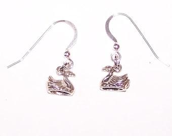 Sterling SWAN Earrings - French Earwires - Bird, Love, Wedding, Wildlife, Totem