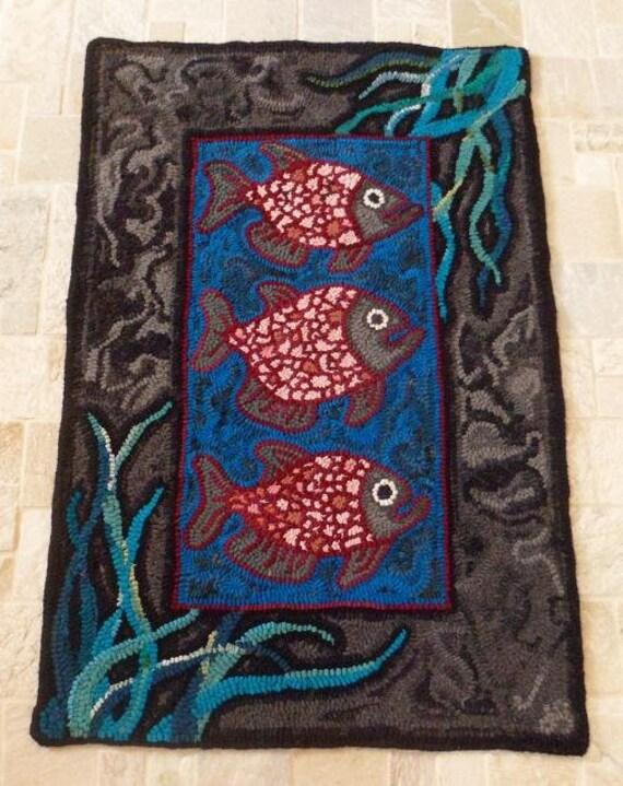 Three Fish Primitive - Hooked Rug