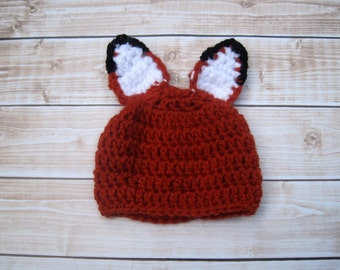 Baby Fox Hat, Newborn Baby Animal Hat, Baby Halloween Hat, Infant Fox Costume, Crochet Baby Hat, Newborn Photo Prop, Woodland Animal Hat