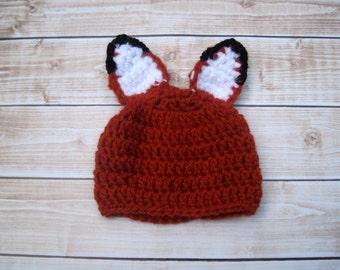 Crochet Baby Hat, Baby Fox Hat, Newborn Fox Hat, Infant, Baby Girl Hat, Baby Boy Hat, Crochet Baby Beanie, Baby Animal Hat, Red Fox Hat