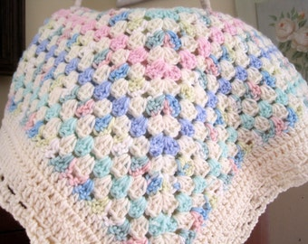 Crochet Baby Blanket, Baby Girl Blanket, Newborn Boy Blanket, Crochet Infant Blanket, Pink and Cream, Baby Afghan, Ready to Ship