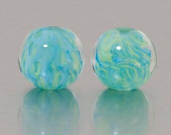 Lampwork earring beads - That Spring Feeling. Lampwork by Jennie Yip