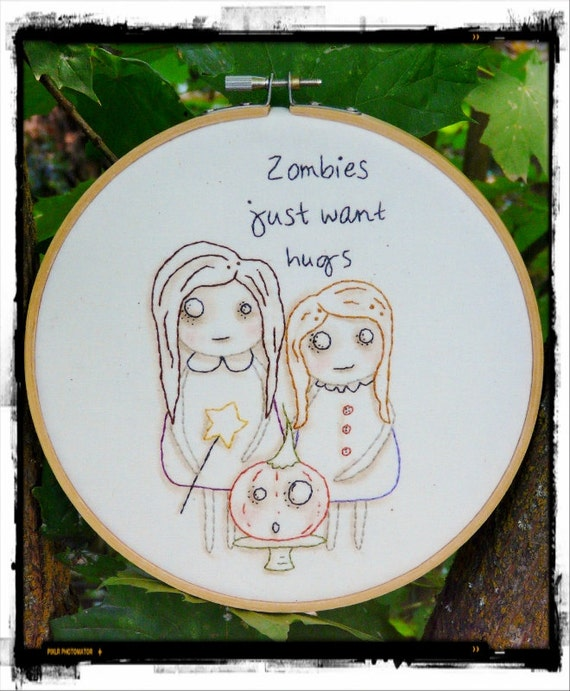 Halloween ZOMBIES embroidery PDF Pattern - just want hugs girls stitchery primitive hoop art Pumpkin PRIM