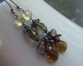 Olivia's Dream Lemon and Smokey Quartz earrings