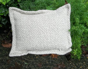 "Natural Linen Pillow READY TO SHIP 20"" Jacquard Linen Pillow Sham Decorative Pillow French Country French Farmhouse Throw Pillow 12x16"