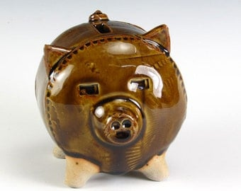 Small Brown Gloss Piggy Bank