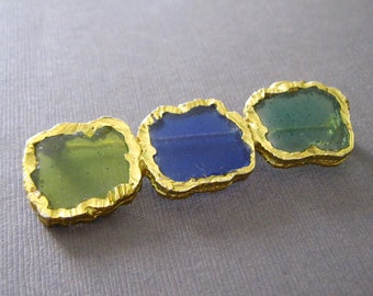 Vintage Blue Green Chartreuse Pin Brooch Stained Glass Jewelry Colored Glass Jewelry
