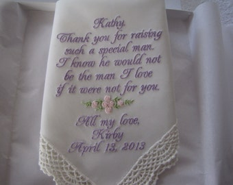 Ivory or White Personalized Wedding Handkerchief for Mother of the Groom from Bride