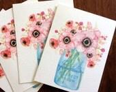 Watercolor Mason Jar Bouquet Greeting Card Set