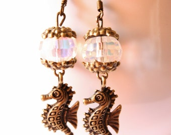 The Royal Seahorse Victorian Brass and  Iridescent Bead Drop Earrings