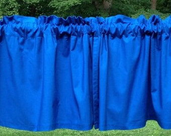 Royal Blue Curtain Valance Handcrafted Custom Sewn From Kona Cotton NEW
