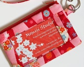 ID Holder Wristlet Key Fob Purse Japanese Cotton Fabric Snow Rings