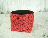 CLEARANCE Red and Black Print Fabric Soft sided bowl Basket Bin Container with black lining