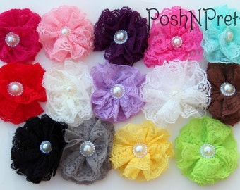 5 Pcs Layered Lace Flowers with pearl accent. Flat back- 3 inches- PICK COLORS