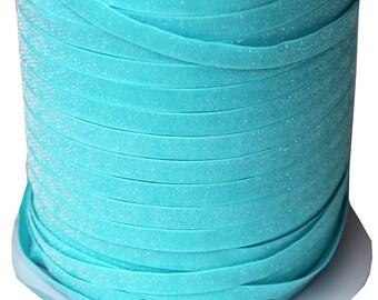 3/8 Glitter Stretch Velvet Elastic 5 YARDS - NO FLAKE - Frosty Blue
