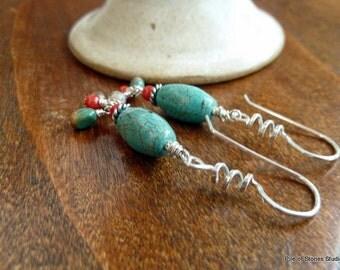 Smitten* Turquoise & Sterling Silver Earrings Earthy Organic Blue Red Brown Gemstone Jewelry Urban Cowgirl Western Ethnic Boho Earrings