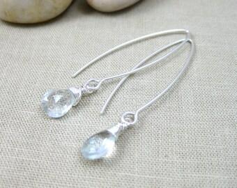 Blue Topaz Earrings Sterling Silver Sky Blue Topaz Gemstone Earrings Gemstone Drop Earrings Dangle Earrings - Essence