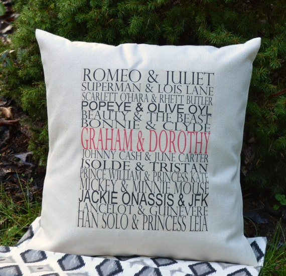 Personalized  Famous couples gift, valentines pillow typography wedding pillow, valentines gift idea COVER 16 x 16