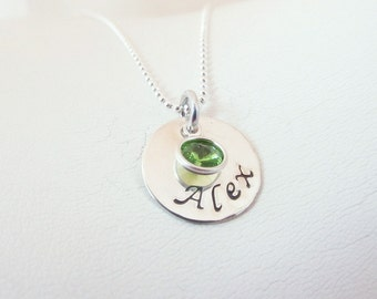 Hand Stamped Personalized Sterling Silver Name Necklace