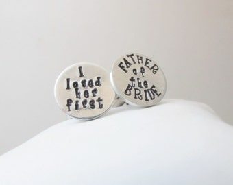 Personalized Hand Stamped Cuff Links - Groomsmen, Groom, Father of the Bride, Cufflinks