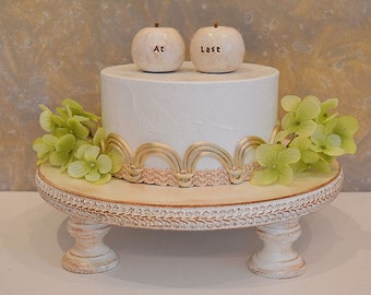 Rustic apples wedding cake topper...At Last apples...vintage white cottage chic look cake decor