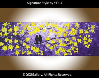 "Birds painting Palette Knife yellow Flower Love Birds wall art wall hangings ""Evening Romance"" by QIQIGALLERY"
