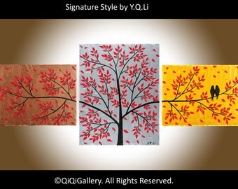 "Abstract art Birds painting gold silver copper red art wall art wall decor canvas art canvas painting ""Autumn Leaves"" by QIQIGALLERY"