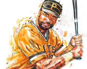 Watercolor portrait of 70's Pittsburgh Pirates baseball player Dave Parker - giclee from original