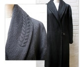 Vintage 50s Stroller Style Wool Coat with Trapunto Quilting