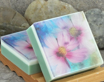Graphic Art Soap - Floral Series - Pink Chrysanthemum in a Light Floral Scent, Glycerin Soap