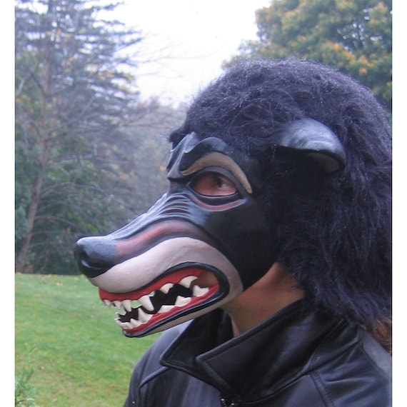 Snarling WOLF MASK.....handmade masquerade halloween mardi gras burning man fursuit cosplay larp renaissance faire paper mache wolf werewolf