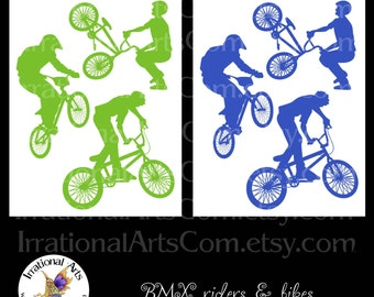 BMX Rider Silhouettes - 3 Collage Sheets in blue & green [ INSTANT DOWNLOAD ]