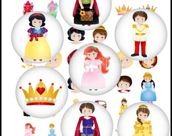 "INSTANT DOWNLOAD Fairytale Princess 1"" circles 5 bottlecap digital collage sheets princess prince crown cameo castle"