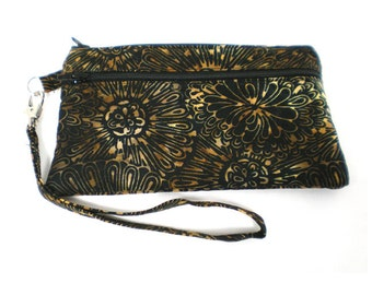 Smartphone iPhone Cell Phone Case, Double Pocket Wristlet, Detachable Strap, Black with Brown and Gold Floral Batik