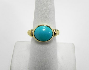 AAAA Sleeping Beauty Turquoise Robins Egg Blue Flawless Natural and Untreated  from Arizona 14K yellow gold ring. MMMM