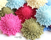 SALE 8pc snowflower resin flower cabochon mix 36mm 10pc, perfect for making hairpins, headbands, brooches