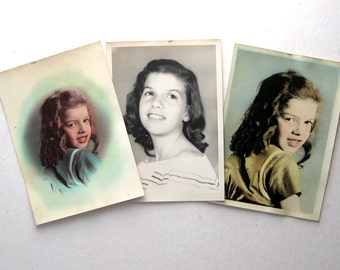 Vintage Color Photographs, Set of Three, 1940s, Young Girl with Missing Front Teeth, EPSTEAM