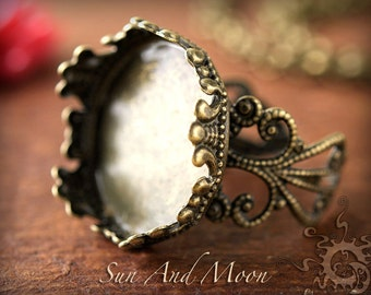 6 Princess Filigree Ring Bases NO GLASS Insert - Antiqued Brass Flower Rings Adjustable Rings - 20mm Setting Ring Blanks